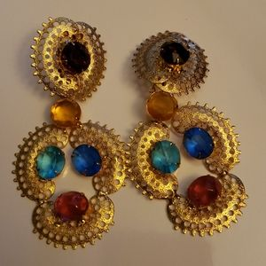 Vintage Colored Rhinestone earrings